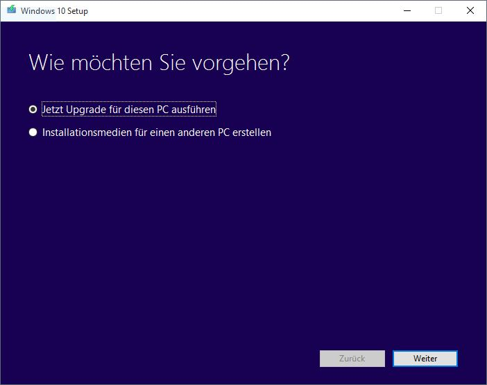 Windows 10 MediaCreationTool Assistent Start