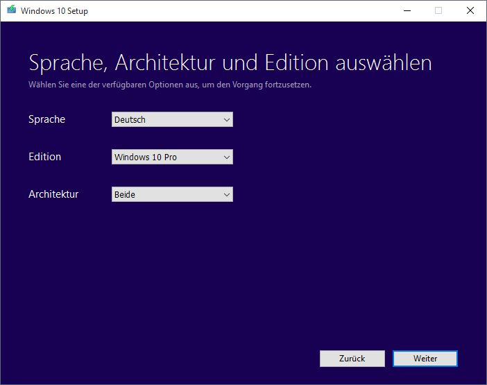 Windows 10 MediaCreationTool Assistent Versionsauswahl
