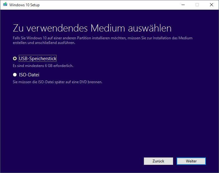 Windows 10 MediaCreationTool Assistent Medienauswahl