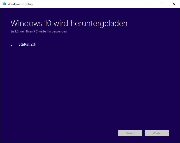 Windows 10 MediaCreationTool Downloadstatus